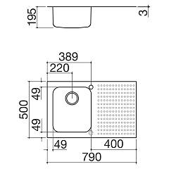 Barazza - Select 1IS8060 / 1D Sink - technical drawing