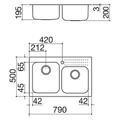 Barazza - Select Sink 1IS8060 / 2 - technical drawing
