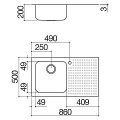 Barazza - Select 1IS9060 / 1D Sink - technical drawing