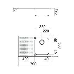 Barazza - Select 1IS8060 / 1S Sink - technical drawing