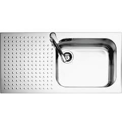 Barazza 1is10060/1s Stainless steel recessed sink 100 x 50 - 1 rh towel lower edged drainer lock Select