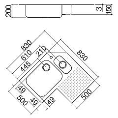 Barazza - Select corner sink 1IS9090D - technical drawing