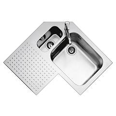 Barazza 1is9090s Stainless steel recessed sink 83 x 83 - corner - rh towers lower edged door drainer left Select