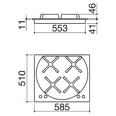 Barazza - WOLO 1P60WLVE gas hob - technical drawing