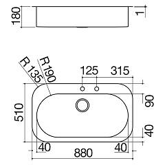Barazza - TAO 1LTA90 sink - technical drawing