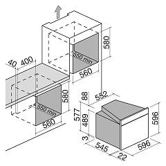 Barazza - 1FOFM7 multisette OFFICINA oven - technical drawing