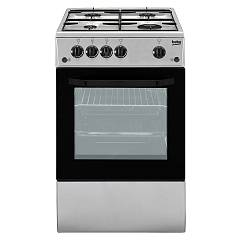 sale Beko Csg 42011 Fs The Kitchen From The Docking 50 Cm - Silver 4 + 1 Burner Gas Oven