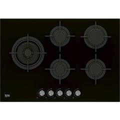 Beko Hill 75222 S Table de cuisson à gaz 75 cm - cristal 4 feux + 1 wok