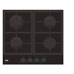 Beko Hilg 64325 Sdx Gas hob 60 cm - black crystal with dark stainless knobs Blacken