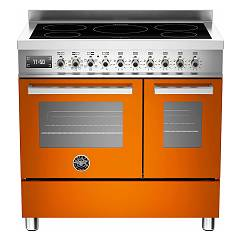 Bertazzoni Pro 90 5i Mfe D Art Kitchen cm. 90 orange double electric oven - induction hob - food warmer Professional
