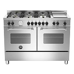 Bertazzoni Mas 120 6g Mfe D Xt Kitchen cm. 120 inox 6 fires + plate - double electric oven - scaldavivande Master