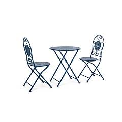 Bizzotto Yes 0802571 Folding bistro set in blue painted steel Pacific