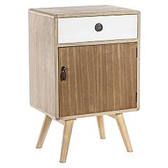 sale Bizzotto 0746090 - Letizia Bedside Table In Wood With 1 Door And 1 Drawer