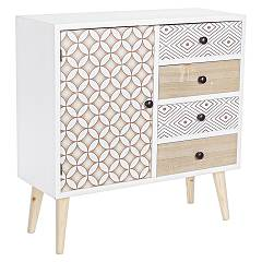 Bizzotto 0745290 Wooden sideboard with 1 door and 4 drawers Vicky