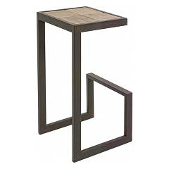 Bizzotto 0740255 Tabouret de bar en assiette de fer et de bois h 70 Blocks H70