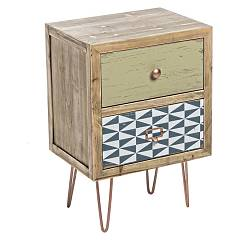 Bizzotto 0744837 2-drawer wooden bedside Roxet