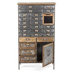 Bizzotto 0730057 - Officina Cassetttiera in iron and wood with 25 drawers and 1 door