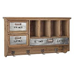 Bizzotto 0730063 Wooden wall unit with 3 drawers and 4 hooks Officina