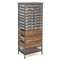 Bizzotto 0730055 - Officina Chest of drawers, iron and wood with 22 drawers