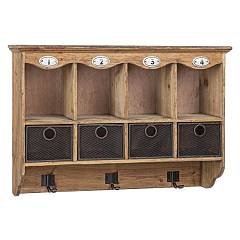 Bizzotto 0730066 Wooden wall unit with 4 drawers and 3 hooks Officina
