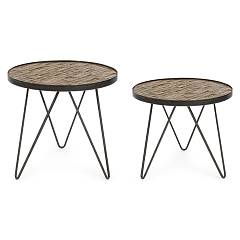 Bizzotto 0745872 Set 2 round wooden coffee tables Austin