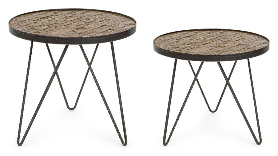 Photos 1: Bizzotto Set 2 round wooden coffee tables 0745872