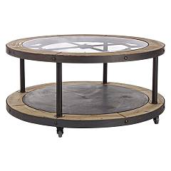 Bizzotto 0740326 Round wood coffee table d. 100 Clock