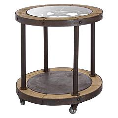 Bizzotto 0740325 Round wood coffee table d. 60 Clock
