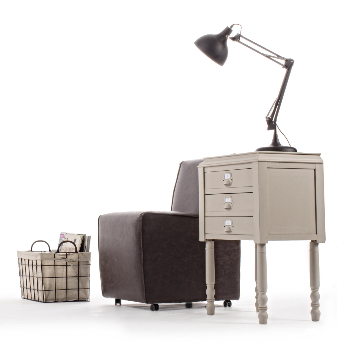 Photos 6: Bizzotto Door lamp in wood l. 49 x 36 with 3 drawers 0745266
