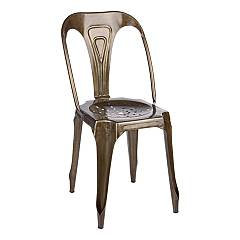 Bizzotto 0746007 Stackable chair in metal - tobacco Droid