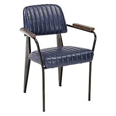 Bizzotto 0746109 Armchair in metal and eco-leather - blue Nelly