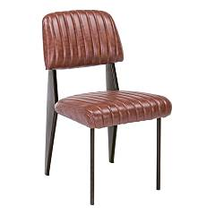 Bizzotto 0746108 Chair in metal and eco-leather - orange dark Nelly