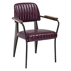 Bizzotto 0746110 Armchair in metal and eco-leather - bordeaux Nelly