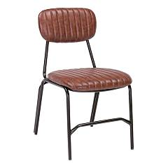 Bizzotto 0746102 Chair in metal and eco-leather - orange dark Debbie