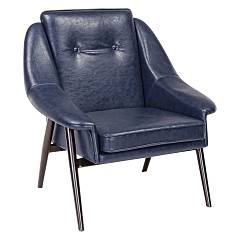 Bizzotto 0746112 - Magnum Armchair in metal and faux leather - vintage blue