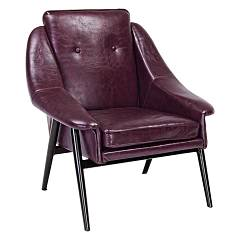 Bizzotto 0746113 - Magnum Armchair in metal and synthetic leather - bordeaux vintage