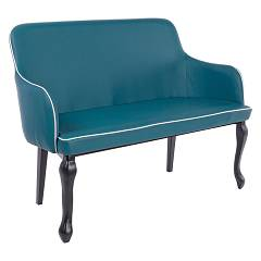 Bizzotto 0731159 Sofa with 2 places in metal and eco-leather - blue Vittoria