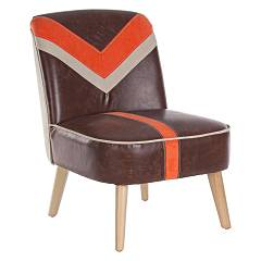 Bizzotto 0743393 - Detroit Chair in wood and faux leather - brown