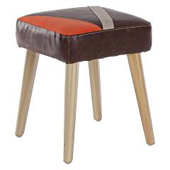 Bizzotto 0743391 Stool in wood and eco-leather - brown Detroit