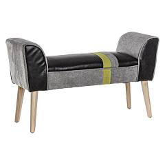 Bizzotto 0743396 Wooden and eco-leather bench - black Menphis