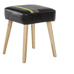 Bizzotto 0743395 Stool in wood and eco-leather - black Menphis