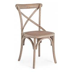 Bizzotto 0743221 Wooden chair - natural gray Cross