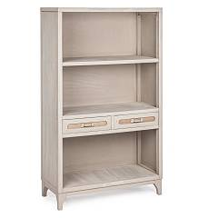 Bizzotto 0745847 Wooden library with 3 shelves with 2 drawers Edison