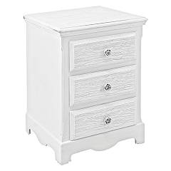 sale Bizzotto 0744184 - Blanc Wooden Bedside Table 3 Drawers