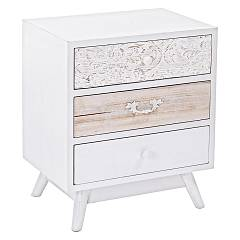 Bizzotto 0745360 Wooden bedside with 3 drawers Glenn