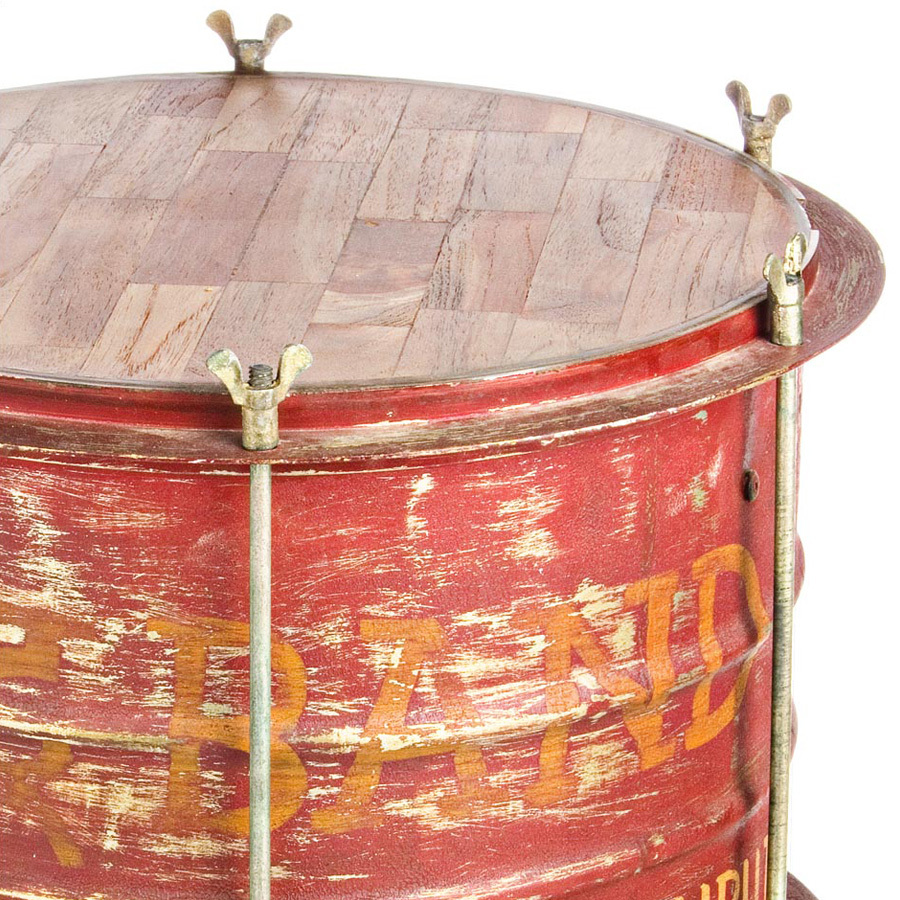 Photos 2: Bizzotto Wood and metal table l. 40 x 40 - red 0745337