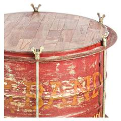 Photos 2: Bizzotto 0745337 Drum Wood and metal table l. 40 x 40 - red