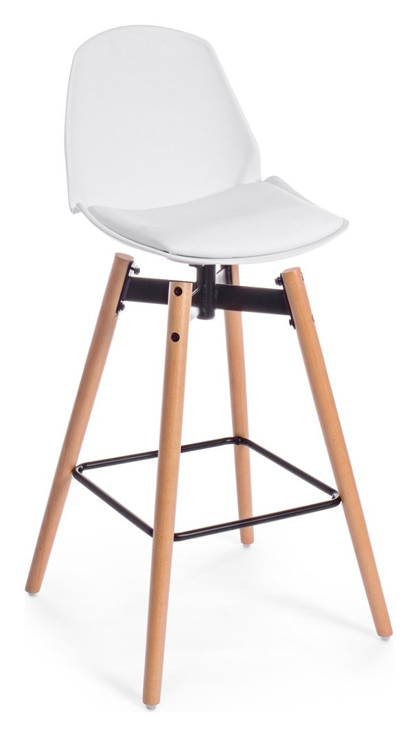 Photos 1: Bizzotto 0730034 Arsenal Stool in wood and eco-leather - white