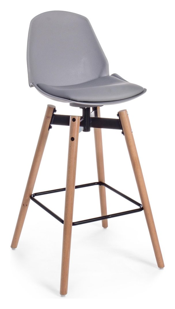 Photos 1: Bizzotto 0730035 Arsenal Stool in wood and eco-leather - light gray
