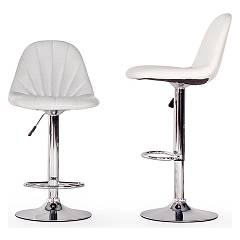 Photos 6: Bizzotto 0731361 Dytona Stool in metal and eco-leather - white